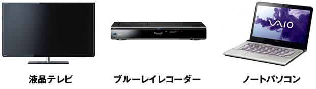 液晶テレビ ブルーレイレコーダー ノートパソコン